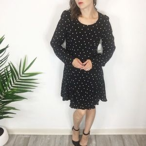 NWT BAR III long sleeve polka dot swing dress
